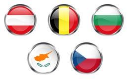 1 europeiska flaggadel för knappar Royaltyfria Bilder