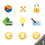 1 finanssymbolsset Arkivfoton