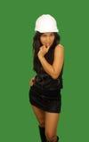 1 flirtatious arbetare för asiatisk konstruktionskvinnlig Arkivbilder