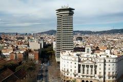 1 flyg- barcelona cityscapesikt Fotografering för Bildbyråer