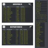 1 fördröjning set för information om flygflyg Royaltyfria Bilder