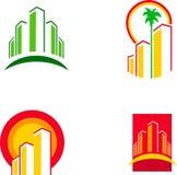 1 färgrika symbolsillustration för byggnad Royaltyfri Bild