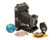 1 gammala kamerakompass Arkivbild