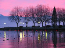 1 geneva lake sunset royaltyfri foto