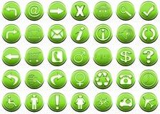 1 gröna symbolsset Royaltyfri Bild