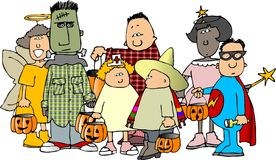 1 grupphalloween ungar royaltyfri illustrationer