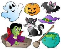 1 gulliga halloween för tecknad film set Royaltyfria Bilder