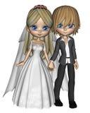 1 gulliga toon för par bröllop Fotografering för Bildbyråer