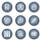 (1) guziki okrążają ikon medycyny kopalną ustaloną sieć Obraz Royalty Free