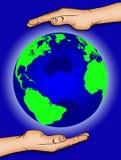 1 hands vår värld Royaltyfria Bilder