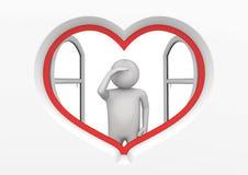 1 hjärtaobservatörfönster Royaltyfri Bild