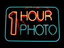1 Hour Photo. Neon sign Royalty Free Stock Photography