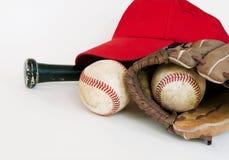 1 isolerade baseballutrustning arkivbild