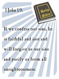 1 John 1:9 - Holy Bible. Popular verses of the Holy Bible to remember the words of the Lord Stock Illustration
