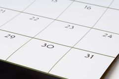1 kalendarz Obrazy Royalty Free