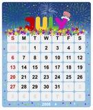 1 kalender månatliga juli Royaltyfri Bild