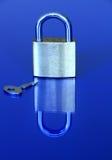 1 key padlock Royaltyfria Bilder