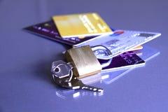 1 kortkrediteringspadlock Royaltyfri Bild