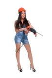 1 kvinna för drillhammareholding Fotografering för Bildbyråer