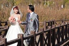 1 lyckliga over gå för brudbrobrudgum Fotografering för Bildbyråer