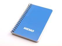 1 memoanmärkning för blå bok Royaltyfria Bilder
