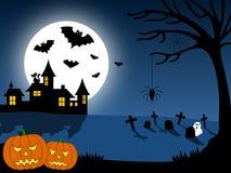 1 miasto Halloween scena Obrazy Royalty Free