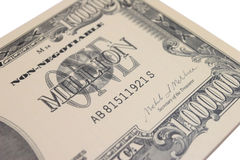 1 Million Dollar Bank Note. One Million Dollar bank note closeup royalty free stock images