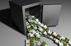1 million Euros. Stacks of 100 Euro bills falling out of an open safe Royalty Free Stock Photos