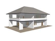 1 modell för landshus Arkivfoto