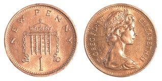 1 moeda britânica da moeda de um centavo Fotos de Stock