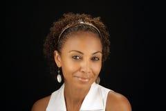 1 mogna kvinna för härlig svart headshot Arkivbilder