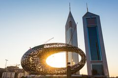 Free 1 November 2019; Dubai, United Arab Emirates; The Museum Of Future And Emirates Towers During The Sunrise Early In The Morning Royalty Free Stock Image - 167690396