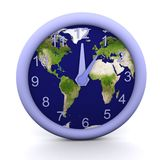 1 oclock. 3d rendered clock showing the time with earth background Stock Images