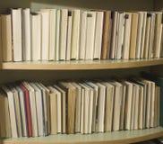 1 oigenkännliga bokbokhylla Arkivbilder