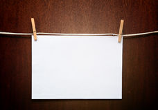 1 paper. One white paper (sticker or photo) on wood Stock Images