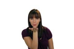 (1) piękny ciosów brunetki buziak Zdjęcia Royalty Free