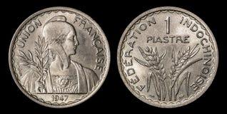 1 piastre古色古香的硬币  库存照片