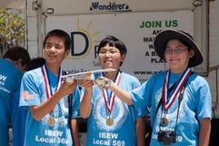 1. Platzieren Sie Sieger, Juniorsolar sprinten 2012 Lizenzfreies Stockfoto