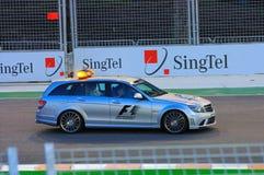 1 race singapore för natt för bilformel medicinska Royaltyfri Foto