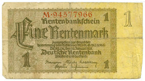 1 rentenmark bill of Germany Stock Image