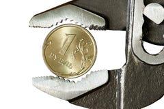 1 rublo en llave inglesa ajustable Fotografía de archivo libre de regalías