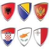 1 södra Europa flaggasköld Royaltyfri Fotografi