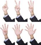 1 samling som 6 räknar fingrar till Arkivfoton