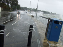 1 sandbanks Poole Dorset sea breached road Royalty Free Stock Photo