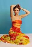 1 sarongkvinna Fotografering för Bildbyråer