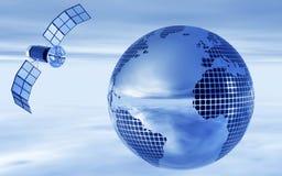 1 satellite con il globo in cielo notturno Fotografia Stock Libera da Diritti