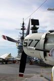 A-1 Skyraider a bordo del USS situado a mitad del camino Imagen de archivo libre de regalías