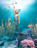 1 små mermaid royaltyfri illustrationer