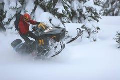 1 snowmobile Fotografering för Bildbyråer