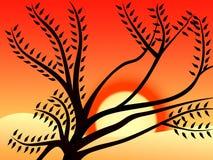 1 solnedgång Royaltyfri Illustrationer